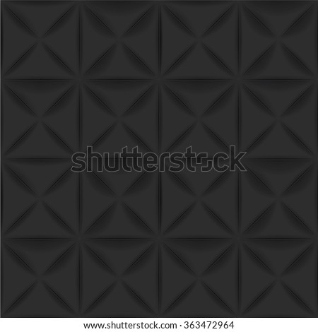 Vector black background - seamless texture for graphic or website template layout , Interior wall decoration. 3D Vector interior wall panel pattern. Geometric triangle design.  - stock vector