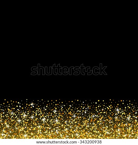 Vector black background with gold glitter sparkle, greeting card template - stock vector