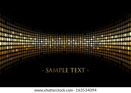 Vector black background with gold lights with space for your text - stock vector