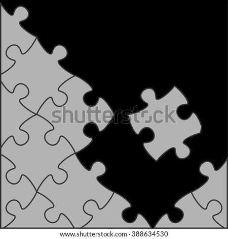 Vector Black background with gray white puzzle pieces and place for your content, perfect for business or backgrounds vector - stock vector