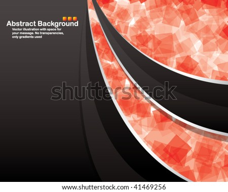 Vector. Black background with transparent random red squares - stock vector