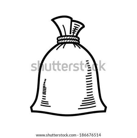 vector black bag flour icon on white - stock vector