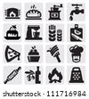 vector black bakery icons set on gray - stock vector
