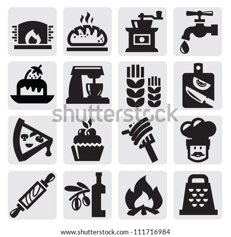 vector black bakery icons set on gray - stock vector