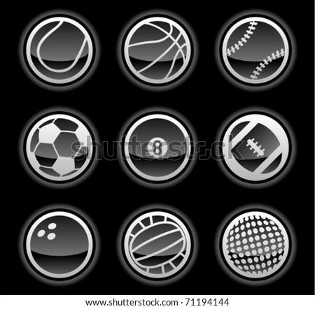 vector black ball icons - stock vector