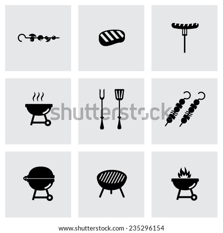 Vector black barbecue icon set on grey background - stock vector