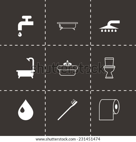 Vector black bathroom icon set on black background