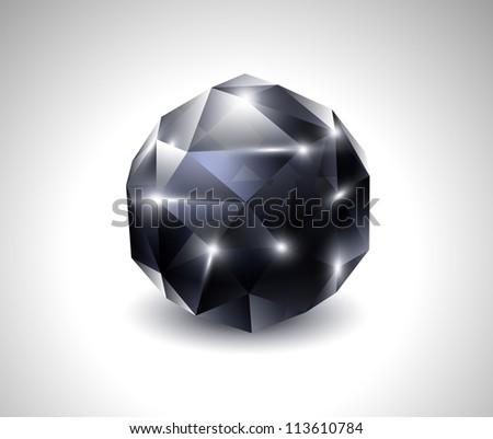 vector black beautiful gemstone - stock vector