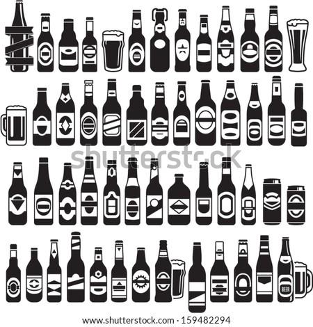 Vector black beer bottles icons set. Beer can. - stock vector