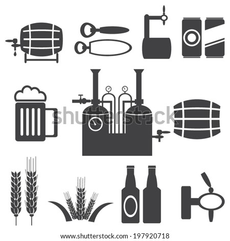 Vector black beer icons set. - stock vector