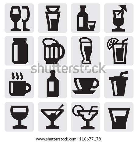 vector black beverage icons set on gray - stock vector