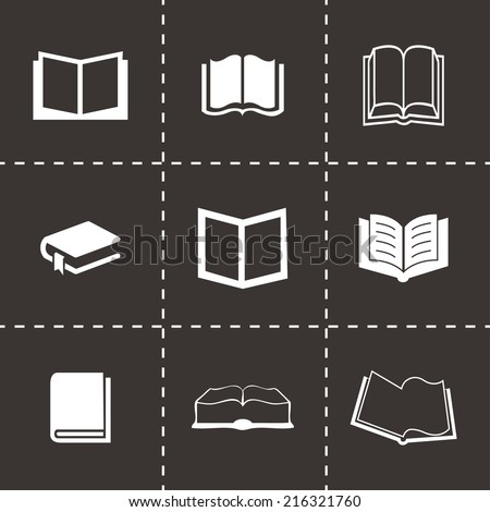Vector black book icons set on black background - stock vector