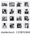 vector black book icons set on gray - stock vector