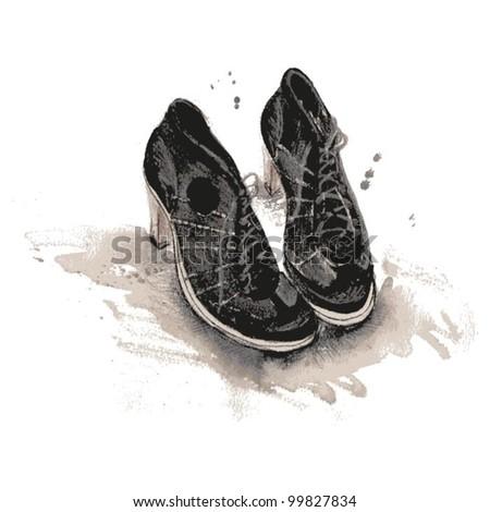 Vector Black Boots - stock vector