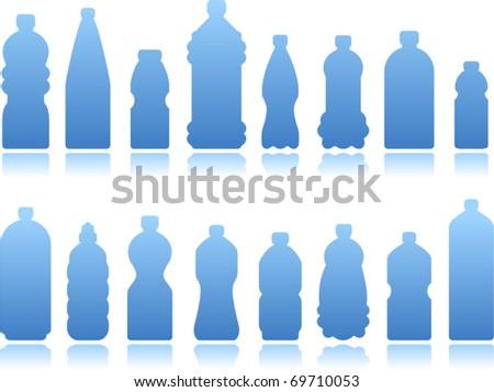 vector black bottles set 2 Plastic Bottle Vector