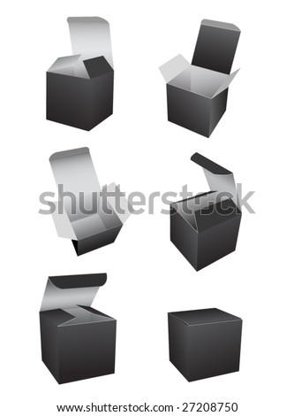 vector black boxes template - stock vector