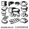 vector black bread icon set on white - stock vector