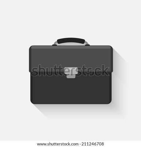 vector black briefcase icon in flat style - stock vector