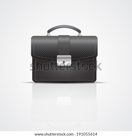 Vector black briefcase with leather texture  - stock vector