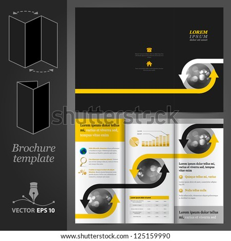 Vector black brochure template design with arrows. EPS 10 - stock vector