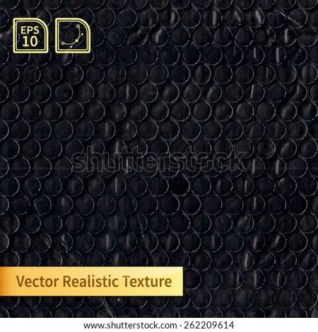 Vector black bubble wrap texture. Photo realistic texture for your design - stock vector