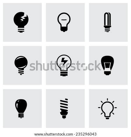 Vector black bulbs icon set on grey background.