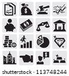 vector black business and finance icons set on gray - stock vector