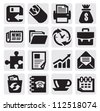 vector black business icon set on gray - stock vector