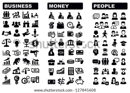vector black business, money and people icons set - stock vector