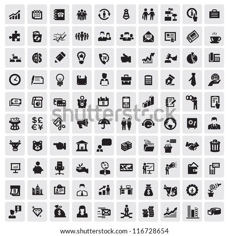 vector black 100 business web icons set on gray - stock vector