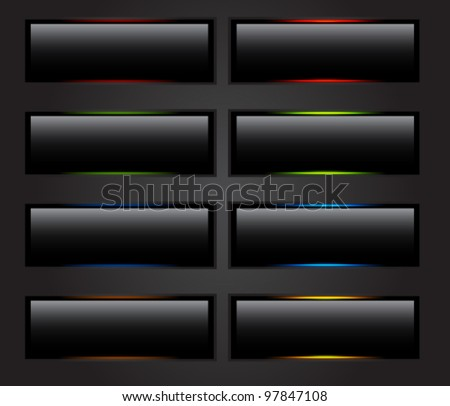 Vector black buttons. Hover/clicked and normal position. - stock vector