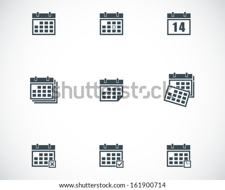Vector black calendar icons set - stock vector