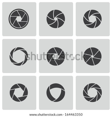 Vector black camera shutter - stock vector