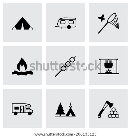 Vector black camping icons set on grey background