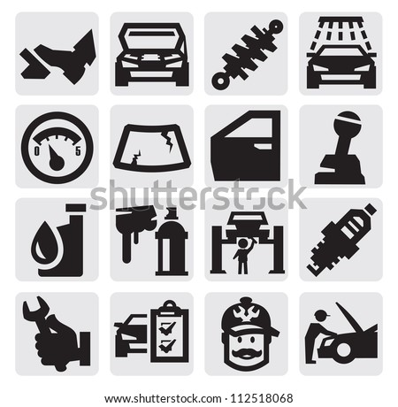 vector black car service icon set on gray