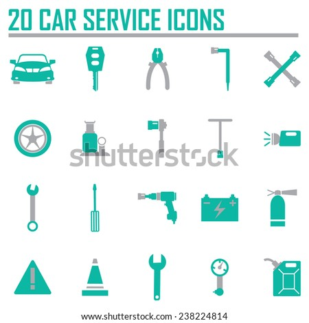 Vector black car service set  - stock vector