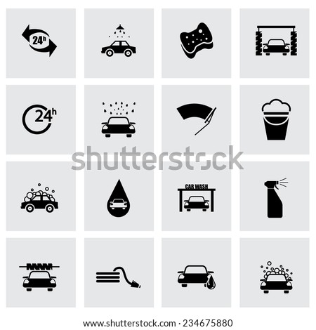 Vector black car wash icon set on grey background
