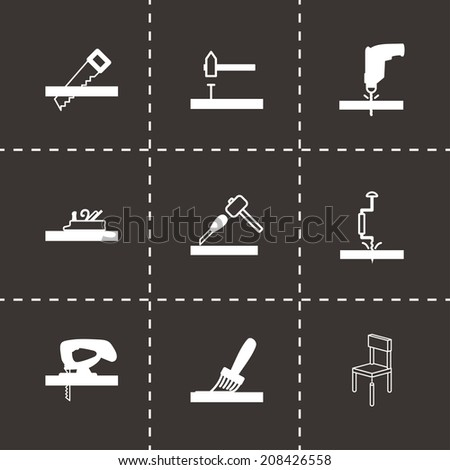 Vector black carpentry icons set on black background - stock vector