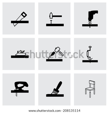 Vector black carpentry icons set on grey background - stock vector