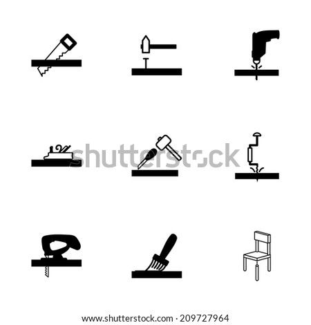 Vector black carpentry icons set on white background - stock vector