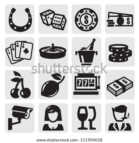 vector black casino icons set on gray - stock vector