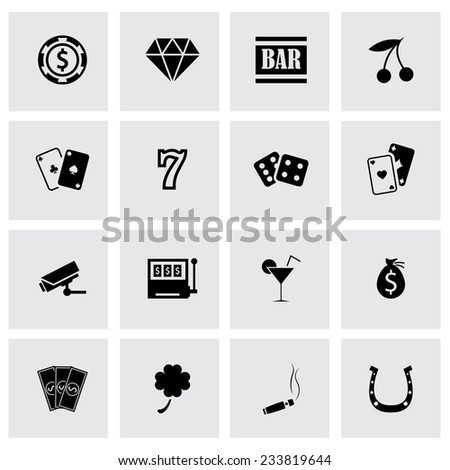 Vector black casino icons set on grey background - stock vector