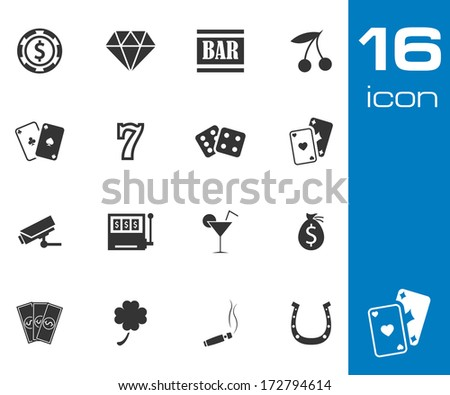 Vector black casino icons set on white background - stock vector