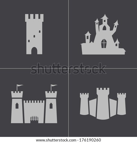 Vector black castle icons set on gray background - stock vector
