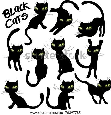 vector black cats - stock vector