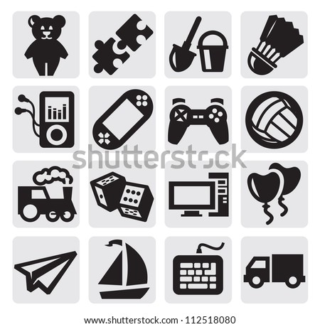 vector black children's toys icon set on gray - stock vector