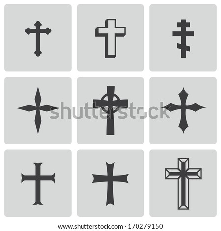 Vector black christia crosses icons set on white background - stock vector