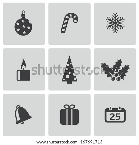 Vector black christmas icons set on white background