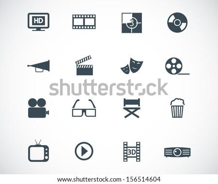 Vector black cinema icon set - stock vector