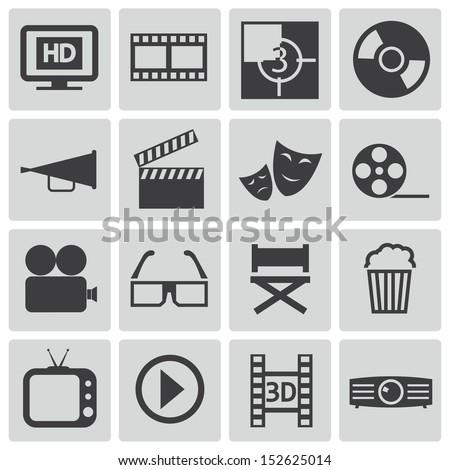 Vector black  cinema icons set - stock vector